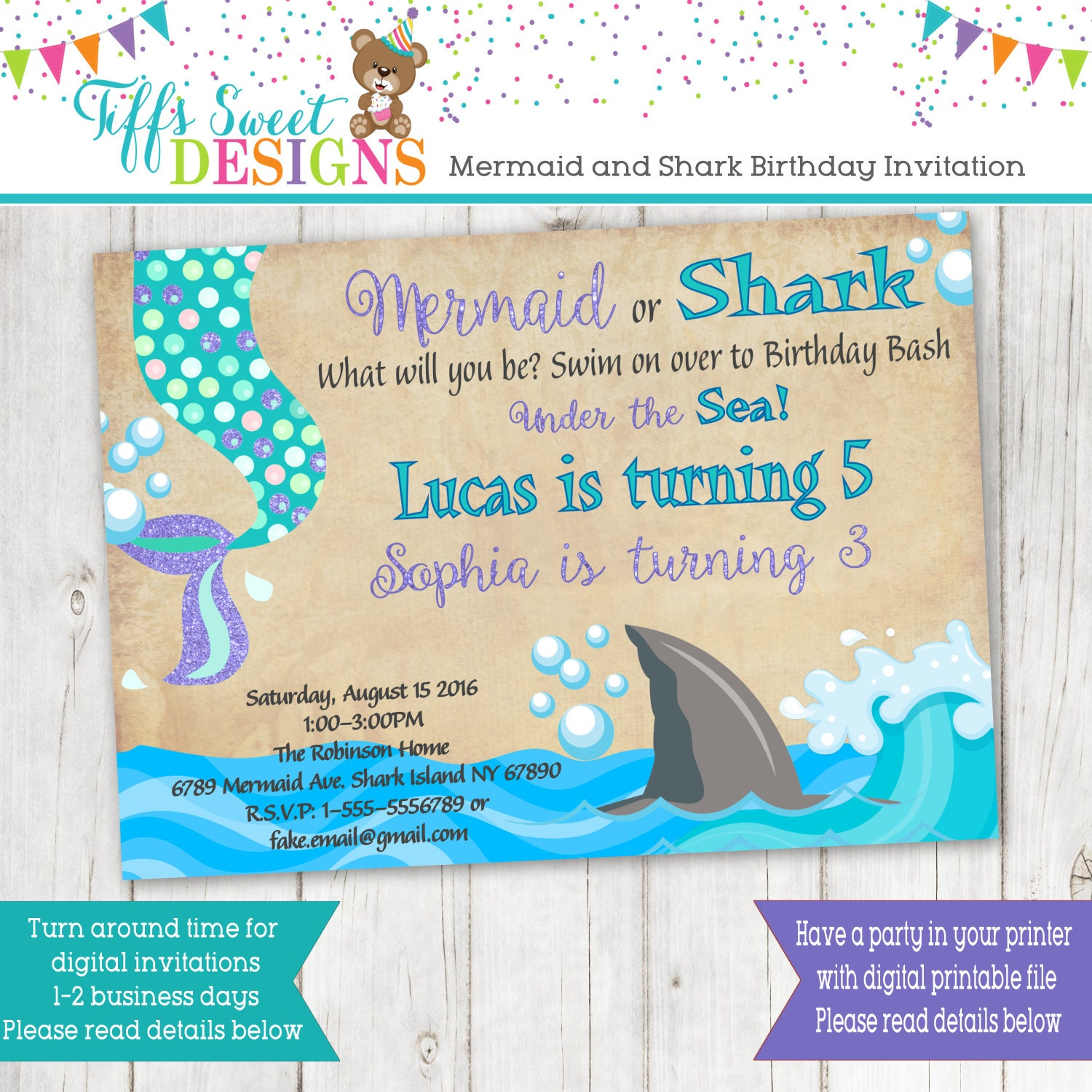 Mermaid And Shark Birthday Brother and Sister Birthday Party – Shark Invitations Birthday Party