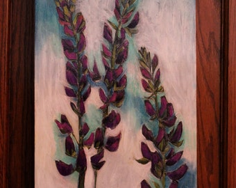 Lupine Painting, painting of purple lupine