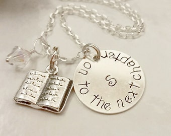 Sterling Silver Book Charm Necklace Stamped with on to the next chapter