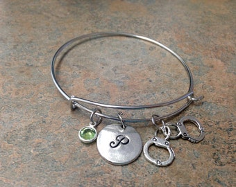 Handcuff Charm Bracelet, Initial Charm Bangle, Charm Bangle, Personalized Jewelry, Monogram, Hand Stamped, Alex and Ani, Gift for Her, Cuff