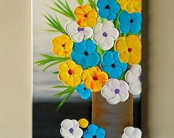 Original Acrylic Flower Vase painting, Flowers in vase painting, abstract textured flower painting, Contemporary painting, home decor 12x16