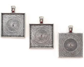 "20 Pk - 1"" Square Pendant Trays - Antique Silver Color - Pendant Blanks Bezel Settings Craft Custom Jewelry -  25mm 1 Inch"