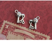 10 pcs Hairdresser Charms Scissors and Hair Dryer Charms Pendant (double sided) Antique Silver 16mm x 12mm (BR1757)