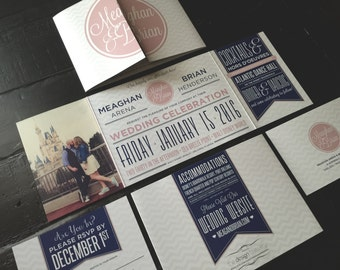 Custom Fold Wedding Invitation; Fairy Tale Theme