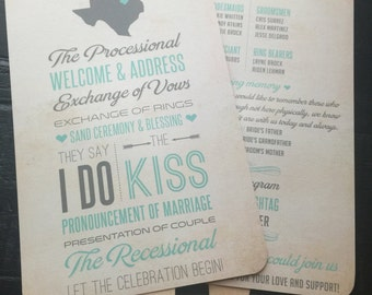 Texas Wedding Program Fans; multiple designs available