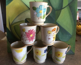 Lot of 6 Coffee Cups - Sunny Collection Stoneware 21102 - ceramic with painted flowers - excellent used condition