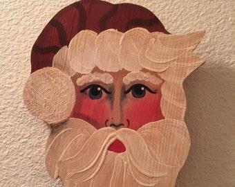 Vintage handpainted Santa wall hanging
