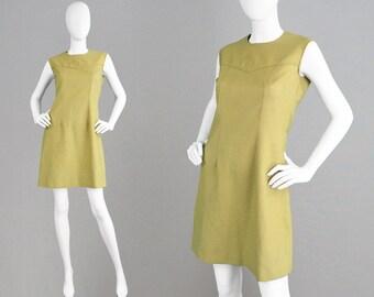 Vintage 70s Shift Dress Gold Dress Mini Dress Mod Dress Sleeveless Dress 1970s Dress Simple Dress Cotton Dress Mustard Yellow Dress Festival