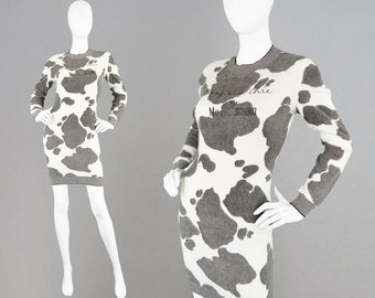 Vintage 80s MOSCHINO Sweater Dress Novelty Print Cow Print Dress Italian Wool Cheap & Chic Jumper Dress Made in Italy Designer Dress 1980s