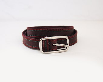 Burgundy leather belt, belt with two colour threads stitching. Narrow belt, ALL SIZES