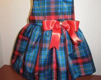 Royal blue taffeta holiday dress for american girl dolls