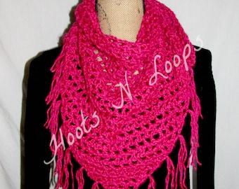 Crochet Triangle Scarf/Shawl with Fringle