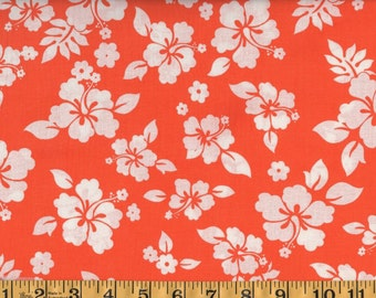 Tropical Hibiscus Floral Hawaiian Orange Cotton Quilting Sewing Fabric, BTY #252-2