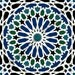 IO005C - Gloss Ceramic Tiles - Arabesque Pattern in Blue and Black - Various Sizes