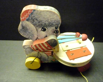 Final Clearance -Fisher Price Poodle Zilo pull toy made in 1962