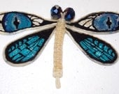 White Hemp Dragonfly with Hand Painted Blue Wings and Faceted Crystal Eyes - Spring Clip Barrette, Lapel Pin, Brooch, Magnet