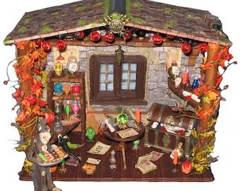 Artisan miniature roombox Halloween Trick or Treat! dollhouse diorama