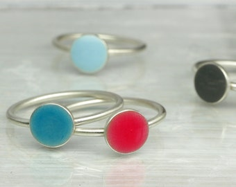 Confetti Ring, 925 silver, silver ring with disc in desired color, color dot stackable