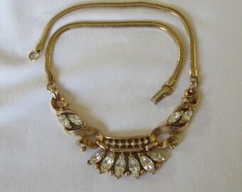 Vintage Trifari Coronet Rhinestone Gold Alfred Philippe Necklace