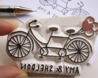 Custom Wedding Tandem Bicycle Balloons rubber stamp