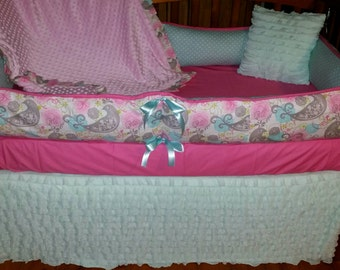 Deal Of The Day***Aqua, Pink and Grey Paisley with Dot 5 piece crib bedding set
