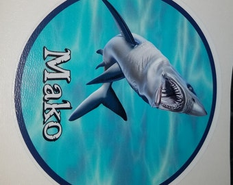 Mako Shark Decal, fish sticker, mackerel shark