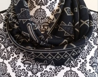 Black Geometric Infinity Scarf - Handmade - gift for her - under 20 - Free Shipping -
