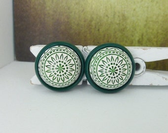 Earrings Studs mosaic ornament dark green