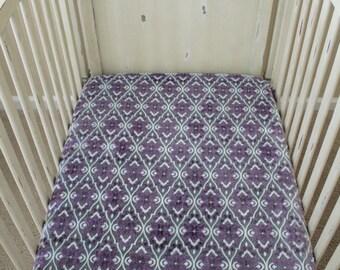 Minky Crib Sheet, Mar Bella Valencia in Violeta, Gray and White, Baby, Toddler, Crib Bedding, Nursery