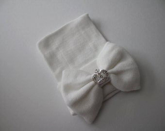 White Newborn Beanie Hospital Hat with White Bow & Rhinestone Crown Accent, Baby Girl, Cotton, Princess, Keepsake