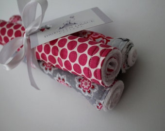 Baby Girl Floral and Polka Dots Burp Cloths - Burp Pads, Cotton and Chenille - Shower Gift, Pink, Gray, White, Scroll, Damask