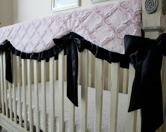 Rosewater Lattice Minky with Black Satin Trim and Ties, Reversible Rail Guard Cover, Crib bedding, Nursery, Bumperless
