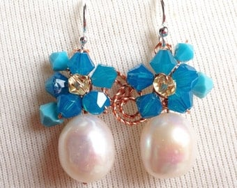 Pearl earrings - Blue earrings - Blue Jewellery - using Fresh water pearl and Swarovski elements - pearl dangle earrings - something blue