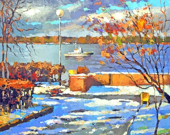 Embarkment OIL PALETTE KNIFE on canvas Painting by Dmitry Spiros. 32x32 in. 80 x 80 cm