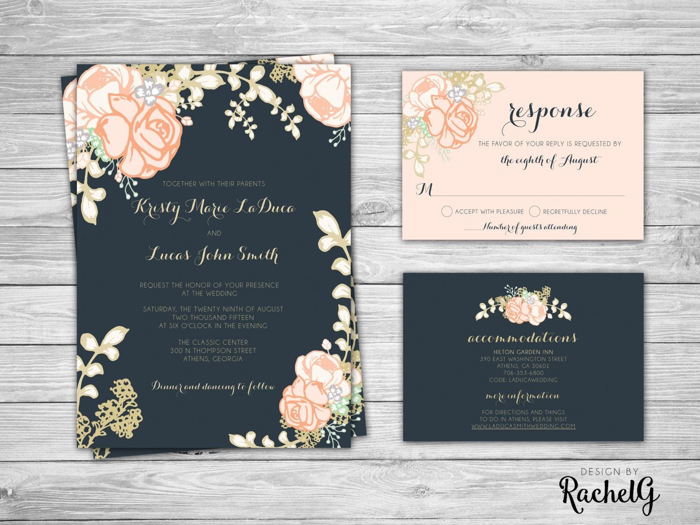 Navy And Gold Wedding Invitations: Wedding Invitation Set Floral Blush Navy And Gold Wedding