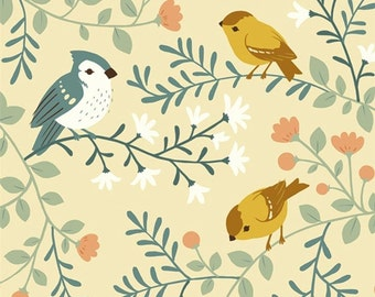 Birds and Branches Canvas Fabric