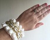 ON SALE! Gold Shell Cuff Beaded, Shell Bracelet, Cowrie Shells, Wrist Cuff, Bridal Jewellery, Secret Santa, Christmas Present, Kris Kringle
