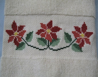 Christmas Gift, Hand Towel, Poinsetta Cross Stitch, Bath or Kitchen Linens, Tea/ Dish/ Towel Home Decor, Holiday Hostess Gift