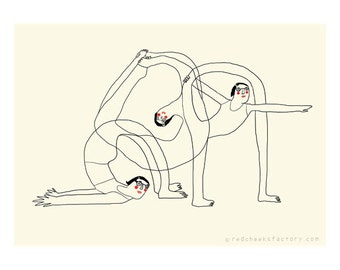 yoga mini poster - beyond your flexibility - A4 poster - yoga illustration - yoga drawing - yoga postures - mini-poster -digital print