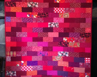 Child's Quilt, Bright Baby Quilt, Lap Quilt, Red Bricks, 44 x 56 inches,