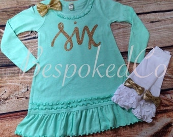 Girls 6th Birthday Outfit /Six Birthday outfit / Mint pink and Gold Sixth Birthday / Gold Six / Sixth Birthday