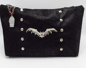 Gothic Bat and Coffin Studded Black Faux Leather Shoulder Cross Body Bag--Spectral Shape-Shifter