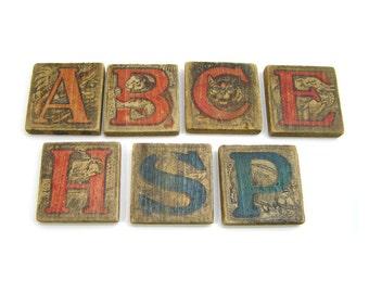 Vintage 1900s Wood Alphabet Blocks with Animals