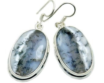 Beautiful Dendritic Opal & Sterling Silver Dangle Earrings ; AE81