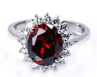 Red Cubic Zirconia & .925 Sterling Silver Ring Size 7, 6.75, 8 Jewelry , O181, W135, P670