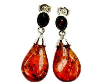 Natural Baltic Amber & Sterling Silver Dangle Earrings; AC469