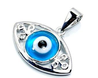 Protective Evil Eye & .925 Sterling Silver Pendant , R997