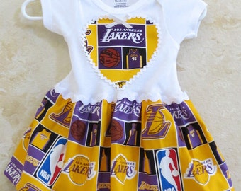 LA Lakers Inspired Onesie, basketball Appliquéd One piece Romper, LA Lakers Baby Tees, Sports Onesie, Rompers with skirt.