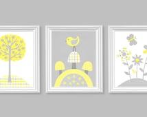 Girl Nursery, Gray and Lemon Nursery, Bird Nursery Art, Girl Room Decor, Flowers, tree, mushrooms, butterfly Nursery, Canvas Nursery Art