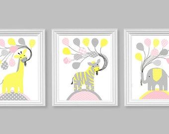 Zoo Nursery Art, Jungle Nursery, Baby Girl Decor, Elephant, Zebra, Giraffe, Baby Decor, Safari Nursery, Grey Pink Yellow, Baby Shower Gift